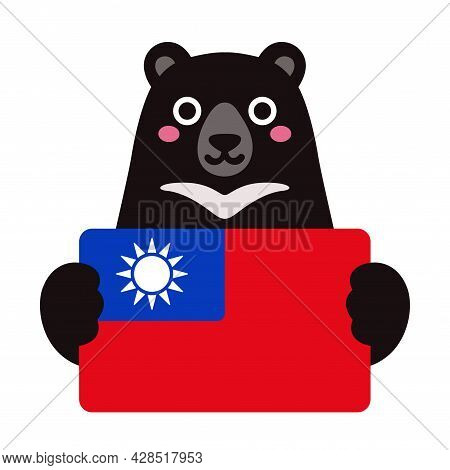 Formosan Black Bear, National Animal And Symbol Of Taiwan, Holding Taiwanese Flag. Cute Cartoon Char