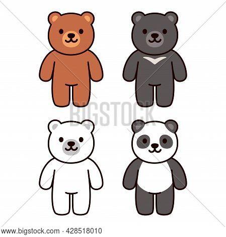 Cute Cartoon Bears Set: Brown, Black, White And Panda Bear. Kawaii Character Vector Illustration.