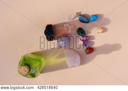 Healing And Antiaging Crystals Set Rainbow On Earth Tones Background
