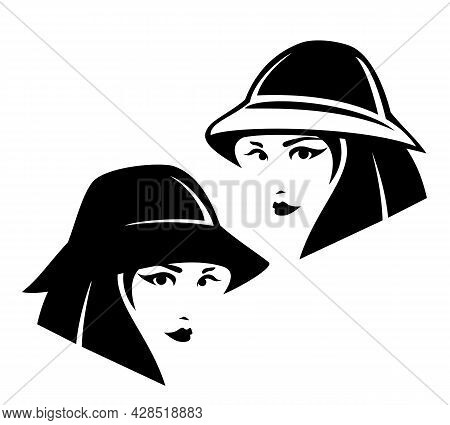 Cool Teenage Girl With Short Stylish Haircut Wearing Bucket Hat Black And White Vector Portrait