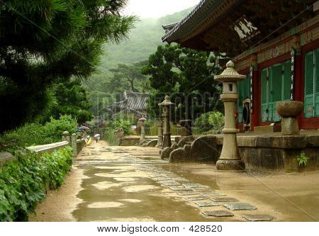 buddhistic pomosa temple in the pusan, south korea poster