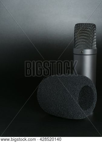 Vocal Sound Recording Microphone. Studio Condenser Mic For Voice Recording With A Low Noise Level.