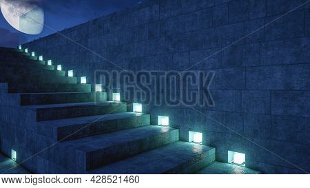 Staircase With Lighting Lead To Roof Top Deck. Building  Exterior With Big Moon Background, 3d Rende
