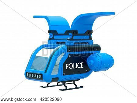Police Drone Isolated On White Background. Futuristic Sci Fi Concept Of Police Military Vehicles. 3d
