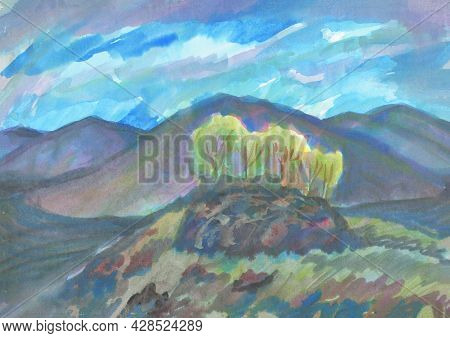 Yellow Hilly Landscape Trees Autumn In Cloudy Day. Watercolor Illustration