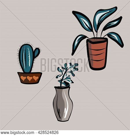 A Set Of Flowers In Pots And Vases. Plants, Cactus, Leaves. Room Interior, Furniture. All Objects Ar