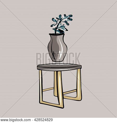 A Small Table And A Clay Vase With A Flower In The Apartment. Storage Organization, Minimalism. Room