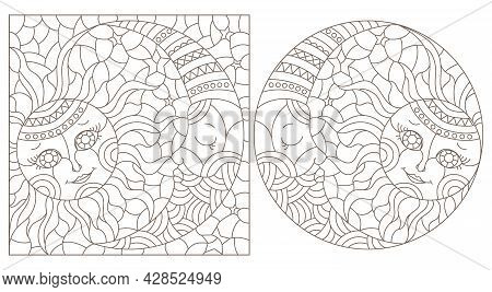 A Set Of Contour Illustrations In The Style Of A Stained Glass Window With A Cute Sun And Moon, Dark