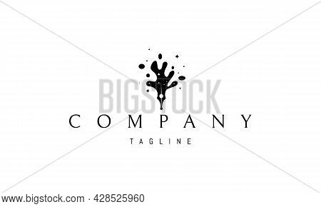 Vector Logo On Which An Abstract Image Of An Ink Pen That Turns Into Spilled Ink In The Form Of Spac
