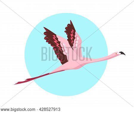 Flying Flamingo Bird Icon. Pink Flamingo Flies On The Sky. Flat Or Cartoon Vector Illustration On Bl