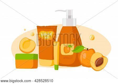 Apricot Cosmetics. Whole And Sliced Ripe Apricot Fruit, Cream Or Scrub, Shampoo Or Lotion Jar And Tu