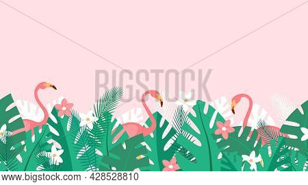 Horizontal Repeated Pattern With Tropical Plants, Flowers And Pink Flamingos. Summer Background With