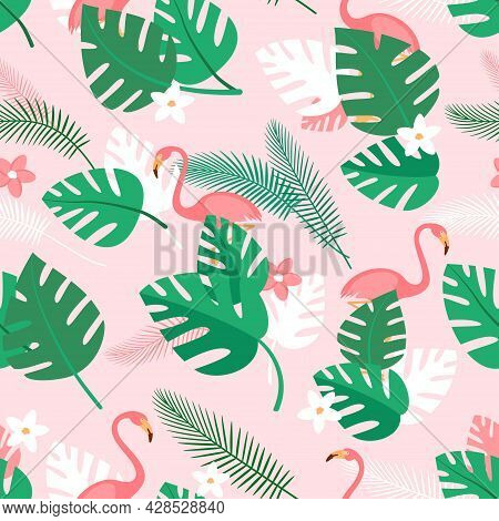 Seamless Pattern With Tropical Plants, Flowers And Pink Flamingos. Summer Background With Green Palm