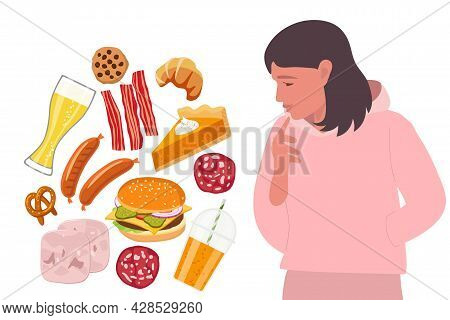 Junk Food. Young Woman Looks At Set Of Unhelthy Food In Thoughtfulness. Harmful Carbonated Drinks, F