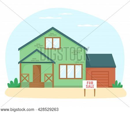 House For Sale. Nice Detached House With Garage On Sale. Flat Style Vector