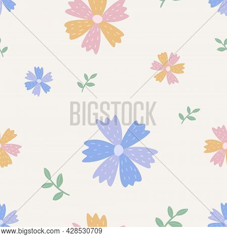 Vector Seamless Cute Pattern With Wildflowers. Baby Pink And Purple Cornflowers Or Knapweed, Buds Wi