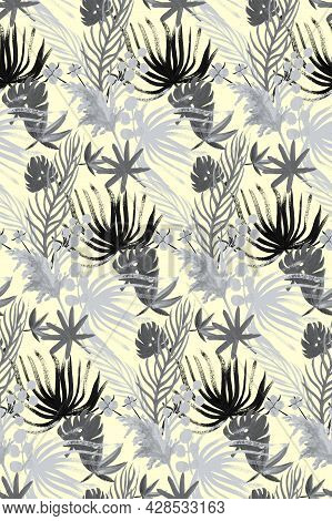 Monochrome Textile Seamless Pattern With Tropical Dried Flowers In Black And White For Textile And D