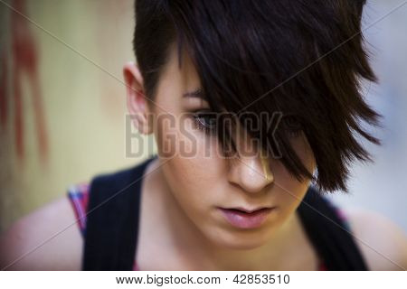 Young beautiful modern looking girl portrait.