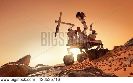 Exploring And Learning About The Planet Mars. A Rover Exploring The Martian Surface. 3d Illustration