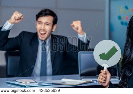 Human Resource Manager Hire The Male Employment Candidate Who Pass The Interviewing, Sitting In The