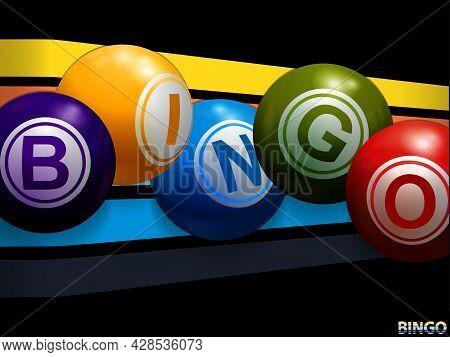 3d Illustration Of Bingo Balls Stating The Word Bingo Over 3d Multicoloured Stripes On Black Backgro