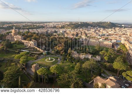 Vatican City Gandens Aerial View, Rome. Roma Landscape, Italy