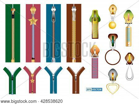 Set Of Realistic Zipper For Clothes Isolated Or Gold Luxury Zipper Garment Or Zipper Metal Fastener
