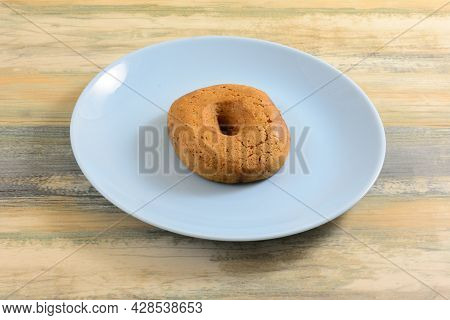 One Greek Grape Must Moustokouloura Soft Cookie On Blue Snack Plate