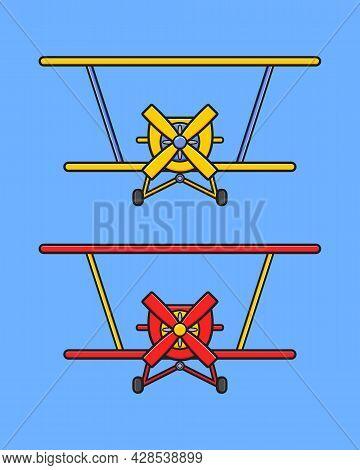Cute Aero Plane Cartoon Icon Illustration. Design Isolated Flat Cartoon Style