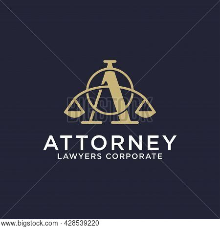 Luxury Attorney Law Firm Logo Design Idea, Letter A Logo Icon With Scales And Shape Vector Illustrat