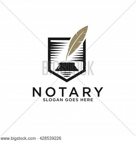 Modern Notary Lawyer Logo Designs, Elegant Golden Pen Notary With Shield Shape Vector Illustrations