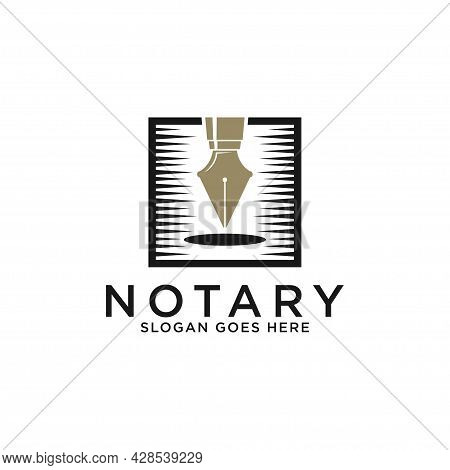 Modern Notary Lawyer Logo Designs, Elegant Golden Pen Notary With Square Shape Vector Illustrations