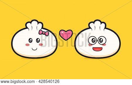 Dumpling Fall In Love Cartoon Icon Vector Illustration. Design Isolated Flat Cartoon Style