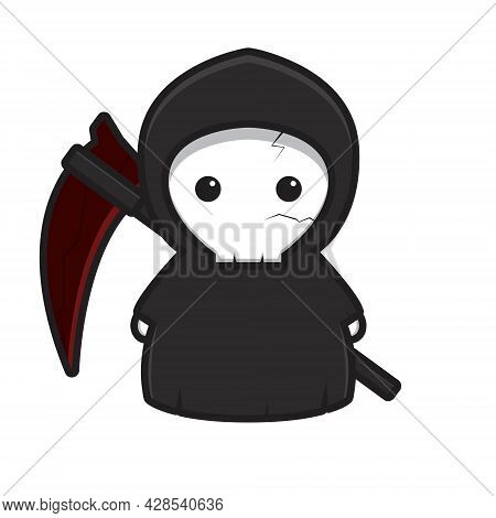 Cute Grim Reaper Mascot Character With Red Scythe Vector Cartoon Icon Illustration. Design Isolated
