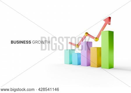 Growthing Graph Bar With Rising Arrow. Business Development To Success And Growing Growth Concept. 3