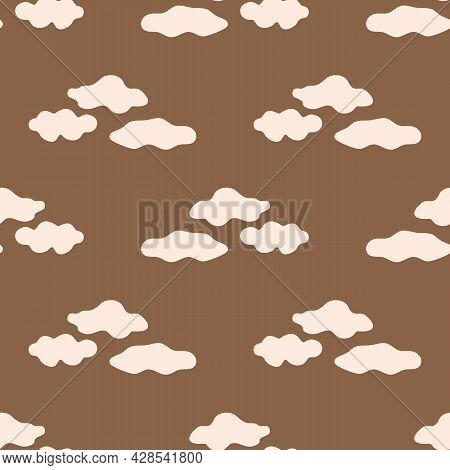 Seamless Background Cloud Sky Gender Neutral Pattern. Whimsical Minimal Earthy 2 Tone Color. Kids Nu