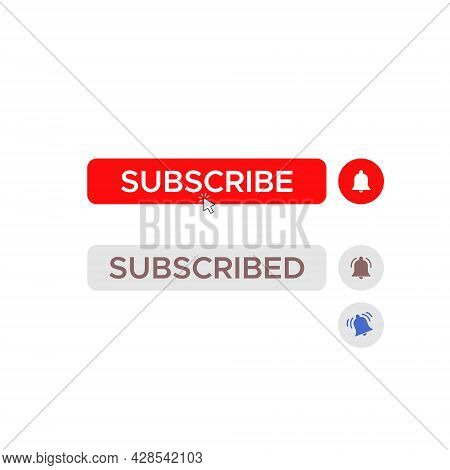 Subscribe Button Icon Vector. Clicking Subscribed Image