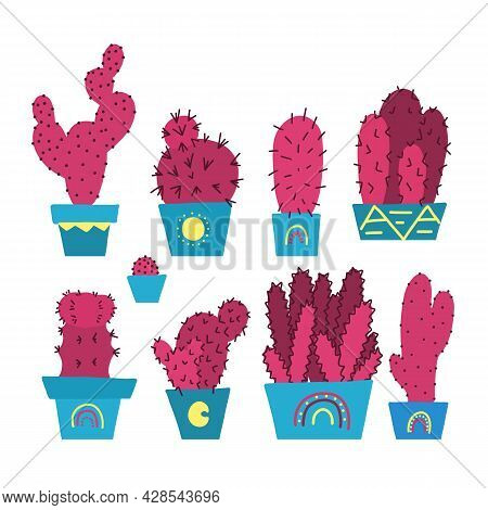 Set Of Unusual Hand Drawn Different Cactuses In Pots. Home Flowers For Room Decor. Vector Cartoon Pi