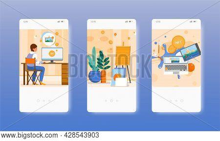 Woman Artist Creating Nft Art. Blockchain Non-fungible Token. Mobile App Screens, Vector Website Ban