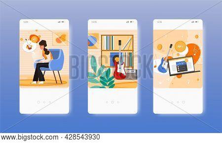 Woman Creating Nft Music. Blockchain Non-fungible Token. Mobile App Screens, Vector Website Banner,