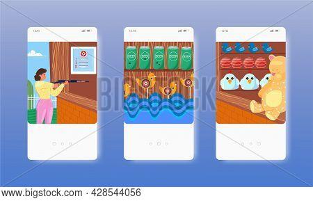 Shooting Range Or Gallery Amusement Park Attraction. Mobile App Screens, Vector Website Banner, Web