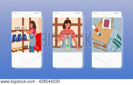 Eco Products Shop. Natural Cosmetic, Food, Bag, Cutlery. Mobile App Screens, Vector Website Banner,