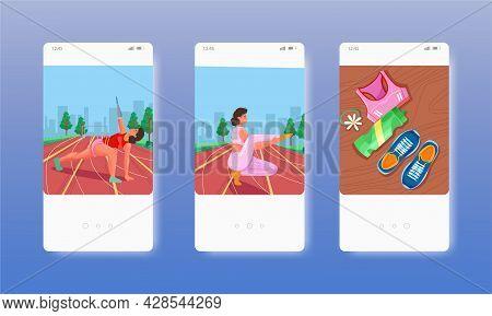 Inclusivity In Sport. Mobile App Screens, Vector Website Banner Template. Ui, Web Site Design.