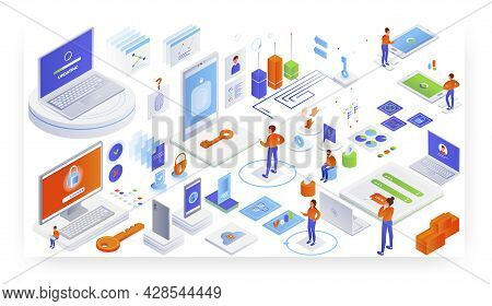 Login Authorization, Password, Personal Account Access, System Update, Vector Isometric Illustration