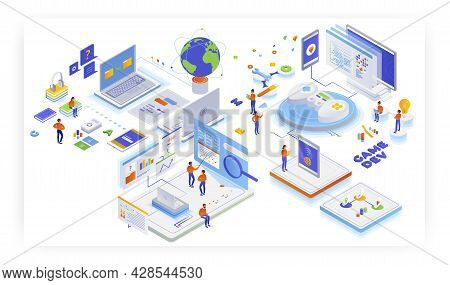 Game Development. Gaming Industry. Mobile And Computer Games Production, Vector Isometric Illustrati