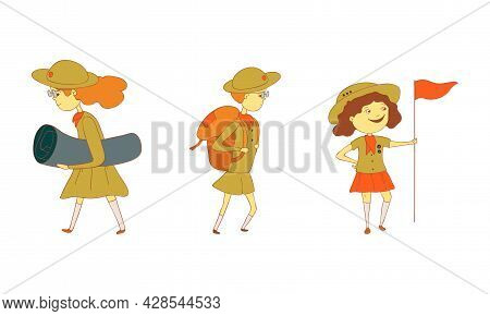 Cute Girl As Junior Scout Holding Flag And Walking With Backpack Vector Set