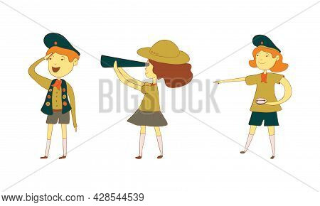 Cute Boy And Girl As Junior Scout Watching Binocular And Compass Vector Set