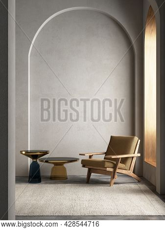 Modern Arches Interior Composition With Armchair And Decor. 3d Render Illustration Mock Up.