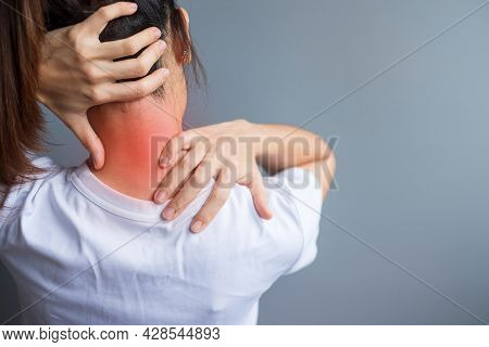 Woman With Her Neck Sprain, Muscle Painful During Overwork. Girl Having Body Problem After Wake Up.