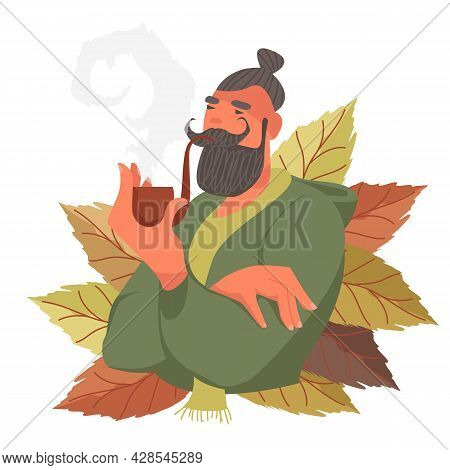 A Person Smokes Pipe Tobacco. Tobacco Leaves. Vector Illustration Of A Smoking Person